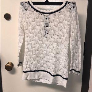 Hinge blue and white knit sweater w/ zipper back